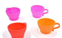 """4Pcs Cup shape silicone cupcake mould / H4.5cm = 1.77"""" Cups Muffin Baking Cake Tea Saucers Teacup Mold"""