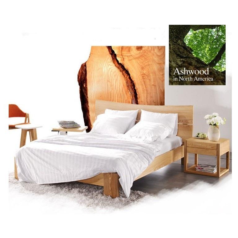 puur massief houten bed Scandinavische minimalistische natuur van ...