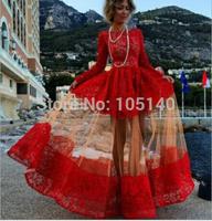 2014 Full Autumn And Winter Long Sleeve Evening Dress Red Flower Long Lace Gown Party Dresses Vestidos De Festa Vestido Longo