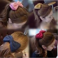 Hotsale Cute Sweet Felt Big Bow Hair Clips Barrettes Multi colored Women Hairpins Hair Jewelry Accessories