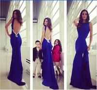 Free Shipping 2014 New Blue Bow Fishtail Wedding Dress Bride Ebay Temperament Slim Elegant Long Party Evening Dresses YS-0023