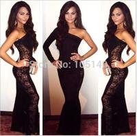 Latest Designs Prom Long Cheap Evening Dress 2014 One Shoulder Black Evening Gown Long-sleeve Autumn Fashion Vestido De Fenda