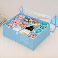 12 Grid Non-woven Underwear Bra Clothing Sorting Box Foldable Box Underwear Bra Socks Storage Box With Transparent Cover