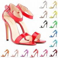 2015 Fashion Women Sandals 11cm Open Toe Ankle Straps Sandals High Heels Summer BRIDAL light Pumps Wedding Sexy Shoes Women