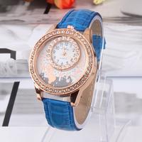 New Arrive classics kitten Rhinestone Watches Fashion Women Dress Watch Leather Strap quartz Wristwatch relogio