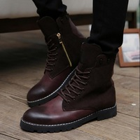 New 2014 Brand Retro Combat Boots Winter England Style Fashionable Men's Short Black Brown Motorcycle Boots Martin Ankle Boots