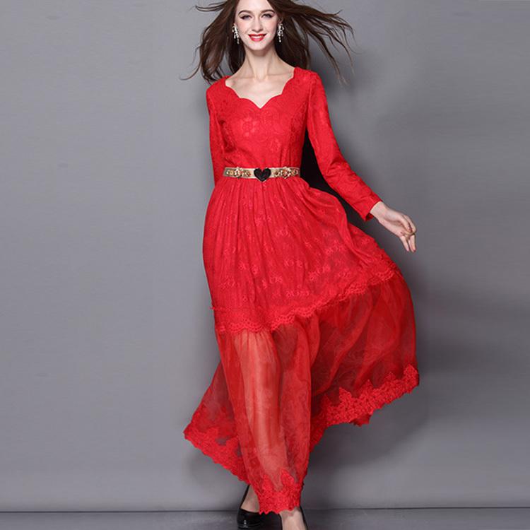 2015 Spring New Fashion Runway Stunning Sexy Irregular V-Neck Long Sleeve Lace Stitching Gauze Big Swing Designer Long Dress(China (Mainland))