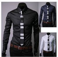 Hot Sale 2015 New Fashion Men Brand Shirts O-Neck Long Sleeve Plaid Slim Fit Casual Shirt  Plus Size M-5XL Free Shipping