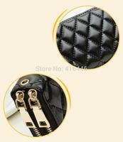 Double Zipper Women's Wallets Genuine Leather  long Wallet Designer Purses Female Leather Lattice Candy color handbag