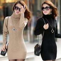2014 female sweater pullover turtleneck medium-long long-sleeve basic sweater female thickening