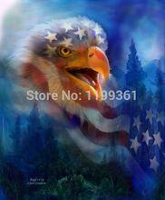 Meu impressa pintura a óleo moderna arte da parede cópias da lona de decoração imagem No Frame da águia Cry americano bandeira fotos(China (Mainland))