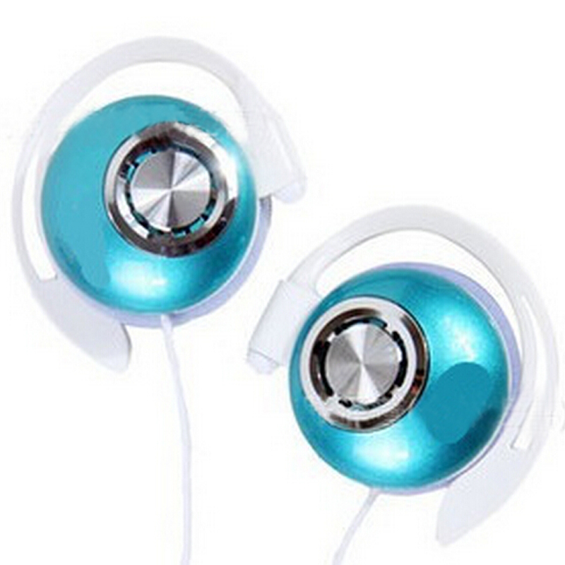 Blue Clip On Sports Stereo Super Clear Bass Ear Hook Headphones Earphone Noise Isolating For MP3 MP4 Cellphone, Free Shipping