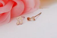 Musical Notes 18k rose gold stud earring female decoration birthday gift