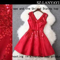Women Party Dresses 2015 Spring Fashion Women's Banquet Formal Dress Paillette V-neck Dress 3 Color Option