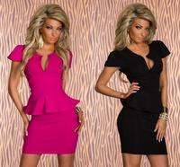 Hot Sale 4 Color M L XL XXL Lotus Leaf Lace Sexy V-neck Waist Women Dress Clubwear Patry Dresses Sexy Dress Work Dress 1017#