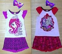 Retail Baby Kids Monster High 2PCS Suit Boys Girls Shorts Sleeves t shirt+Short Pants Children's Clothing Set