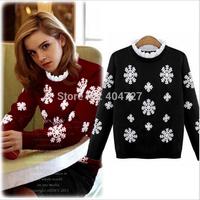 New 2015 European US Spring Autumn Women Sweaters Lotus Leaf Mandarin Collar Snow Flower Embroidery Long Sleeve Outwear Casual