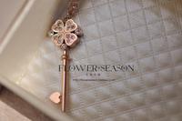 Four leaf clover key color gold necklace long design female sweater decoration