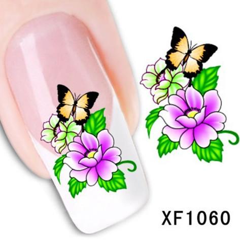 1Pcs Nail Art Water Sticker Nails Beauty Wraps Foil Polish Decals Temporary Tattoos Watermark + Free Shipping (XF1060)(China (Mainland))