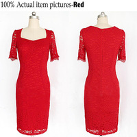 2015 Celebrity Fashion Women Knee-length O-Neck patchwork hollow lace evening Pencil Plus Size women Bodycon Dress d40682