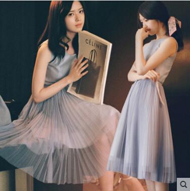 2015 new Europe fashion women causal summer dress plus size O neck vintage elegant evening party dress pleated office dress M643(China (Mainland))