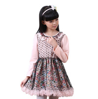 2015 Children Spring Teenage Ruffles Collar Dot Floral Mesh Tutu Dress, Girls Cotton Long Sleeve Clothing, 5 pcs/lot, Wholesale