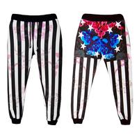 Fashion Men's black/white stripes Floral Print pants mens cartoon jogger trousers hip hop casual boys long pants