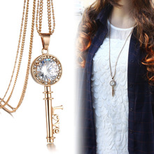 OPK Romantic LOVE Women Necklaces Fashion Big Crystal Key Pendant New 2015 Rose Gold Stainless Steel