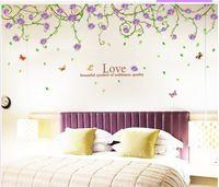 9150B purple flowers butterflies vine happy  wall stickers decoration decor home decal fashion cute waterproof bedroom living