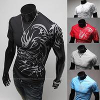 2014 Fashion Brand T Shirts For Men .Novelty Dragon Printing Tatoo Male O Neck T Shirts.Brands