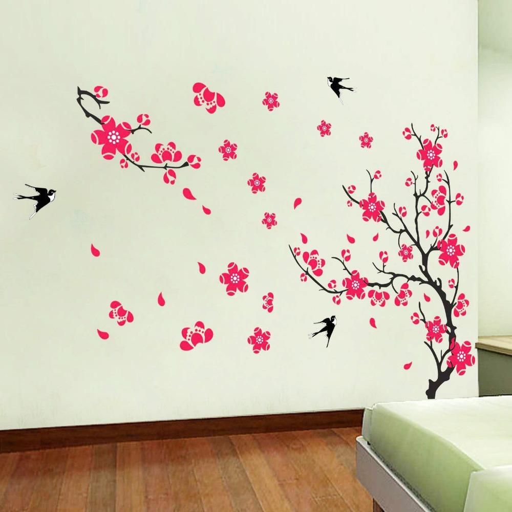 Flor de cerezo con las aves - etiqueta de la pared decoración de pared árbol (fomentar su amada, inspirar fomentar su)
