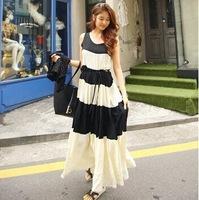6028 Summer wear new 2015 stripes chiffon mop the floor dress beach dress