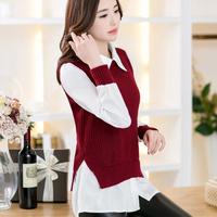 2015 Promotion Sale Freeshipping Regular V-neck Autumn Women's Slim Medium-long Sweater Female Faux Two Piece Set Basic Shirt