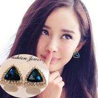 Brief fashion exquisite triangle stud earring female rhinestone crystal diamond earring rhinestone female free shipping $10