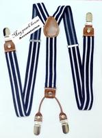 Clip stripe suspenders male lengthen suspenders women's spaghetti strap pants clip rivet leather suspenders