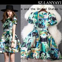 Women's Vintage Dresses New Spring 2015 Simple Ink Printing Round Neck Short Sleeve Slim Dress