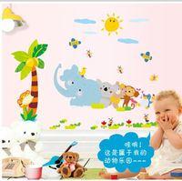 9161 animal happy friends tree bee elephant monkey wall stickers decoration decor home decal fashion cute waterproof bedroom