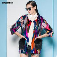 2015 Hot sale Luxurious Autumn Winter Ladies' Genuine Real Spliced Mink Fur Coat with Hoody Women Fur Outerwear Garment