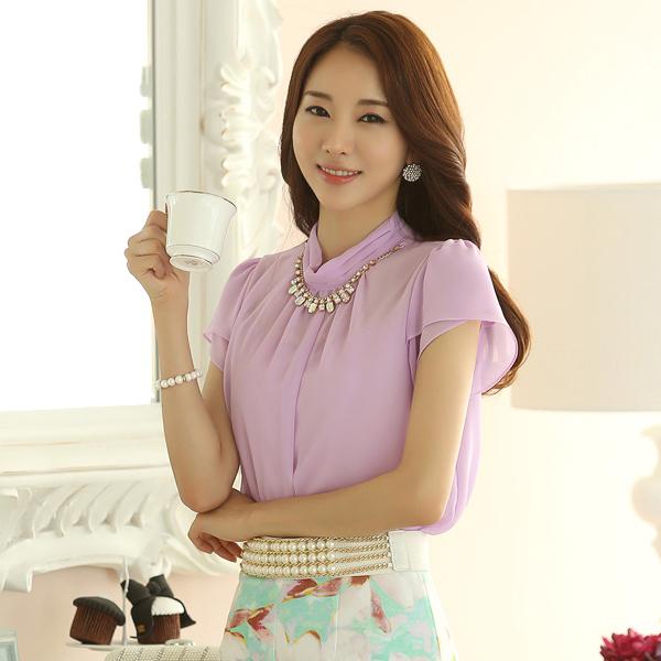 Verão coreano moda OL Plus size Camisa branca das mulheres Casual de manga comprida Chiffon Tops Camisa Blousa blusas e camisas LQ8590(China (Mainland))