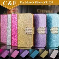 New Bling Shiny Diamond PU Leather Case For Motorola Moto X Phone XT1055 XT1058 XT1060 Wallet Case With Card Slot Free shipping