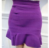 2015 Women Fashion Empire Ruffles Mini Trumpet Skirts Lady Sexy Wool Mermaid Short Skirts 3364