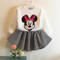 Kids still love Square Autumn new Korean girls cartoon children Houndstooth skirt suit