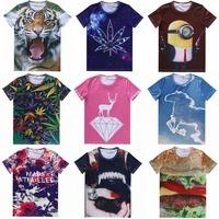 The new spring 2015 men and women fashion T-shirts 3D animal tiger horse gourmet burgers hedging Men T-shirt S-XXL