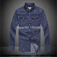 Free Ship Men's Shirt Plaid Brand Checker Male Clothing Long Sleeve 2015 Top Quality Big Size Pure Cotton Dress Shirt Wholsale
