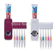 Nuovo bagno set distributore automatico di dentifricio spazzolino insiemi del supporto, set spazzolino dentifricio spremiagrumi rosso/bianco famiglia  (China (Mainland))