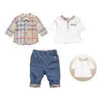 New Arrivals 2015 Brand  Baby Clothing 3pcs Set  Baby Boy Plaid Blouse + Short T shirt + Jeans Casual Kids suits Vestidos Bebe