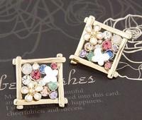 new 2014 fashion sweet chrysanthemum square temperament Earrings wedding earrings