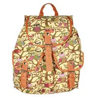 Multiple colors Canvas + Leather Backpack Owl pattern women cute Shoulder Bag knapsack