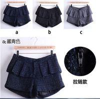 S M L XL 2015 Women Fashion Plaid Ruffles Mid Waist Boots Shorts Lady Preppy Plaid Wool Bright Silk Tweed Boots Shorts 3367