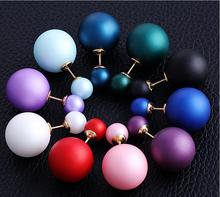 2015 New Fashion Paragraph Hot Selling Earrings Double Side Shining Pearl Stud Earrings Big Pearl Earrings For Women E1368